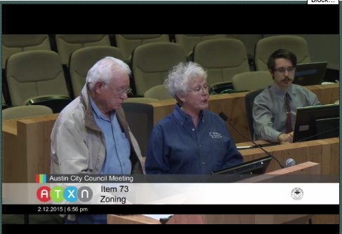 Mr. and Mrs. Gordon, speaking in front of Austin City Council on the 8528 Burnet rezoning